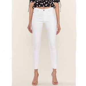 Ag Farrah Skinny Ankle Raw Hem White Jeans 30